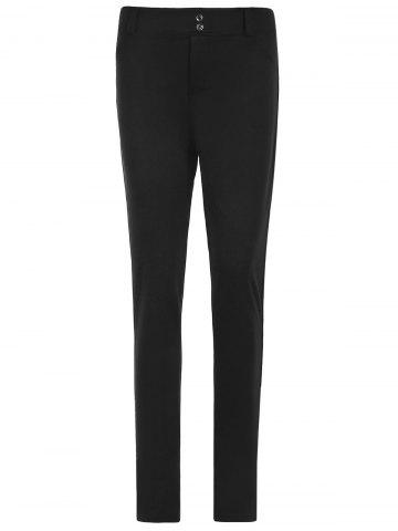 Sexy Mid Waist Solid Color Bodycon Leggings For Women - BLACK S