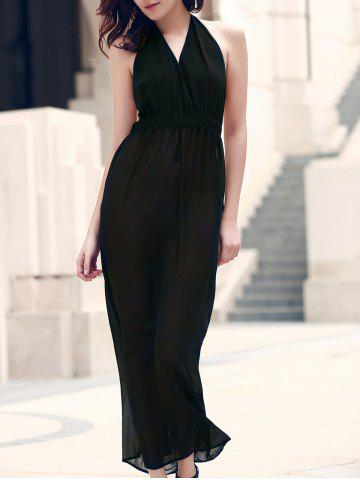 Elegant Black Halter Backless Cut Out Maxi Dress For Women
