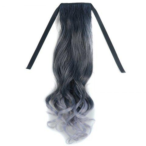 Fancy Stunning Black Ombre Grandma Ash Synthetic Fluffy Wavy Long Capless Ponytail For Women OMBRE