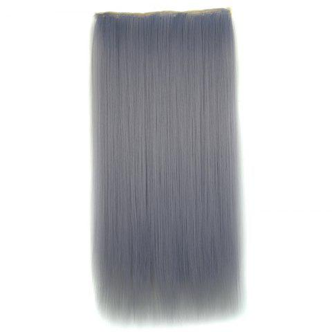 Trendy Attractive Long Silky Straight Light Grandma Ash Clip In Synthetic Hair Extension For Women LIGHT GRAY