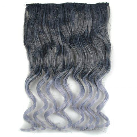 Unique Fashion Long Black Ombre Grandma Ash Synthetic Fluffy Curly Hair Extension For Women