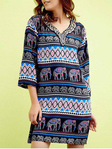 Fashion Chic V-Neck 3/4 Sleeve Beaded Elephant Print Women's Dress