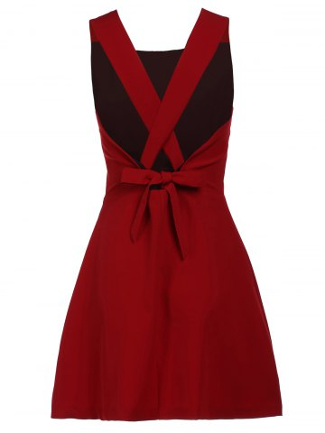 Affordable Fashionable Scoop Neck Sleeveless Criss-Cross Pure Color Women's Dress