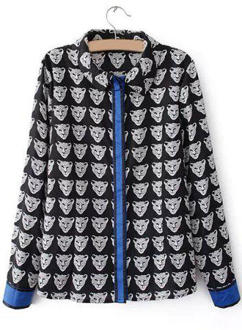 Affordable Trendy Long Sleeves Printed Patchwork Women's Blouse