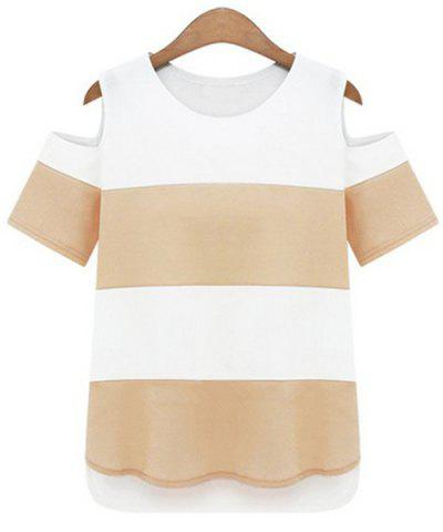 Latest Chic Color Block Striped Shoulder Cut Out Chiffon T-Shirt For Women