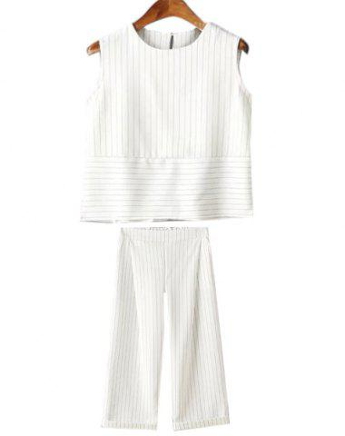 Stylish Round Collar Sleeveless Striped Loose Tank Top + Loose Ankle Pants Twinset For Women