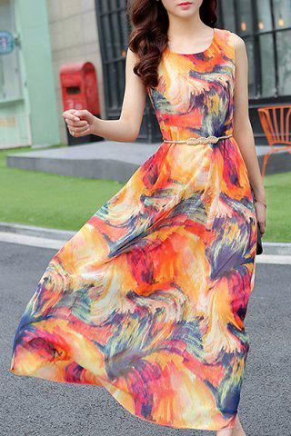 Cheap Chiffon Print Sleeveless Jewel Neck Beach Dress