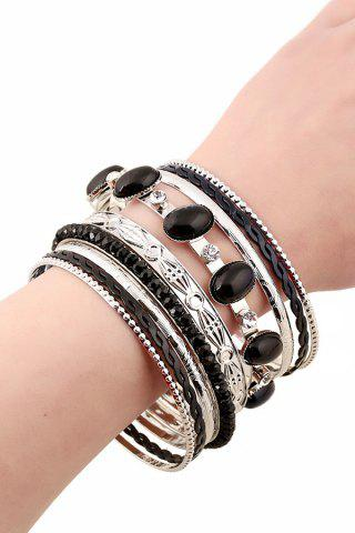 Chic Chic Rhinestone Faux Gem Multilayered Bracelet For Women