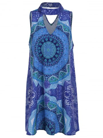 Retro Style Stand Collar Sleeveless Printed Hollow Out Women's Dress