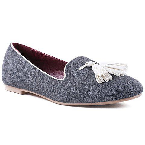 Unique Casual PU Leather and Tassels Design Flat Shoes For Women