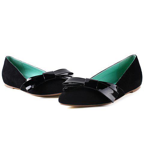 Cheap Ladylike Bow and Suede Design Flat Shoes For Women - 36 BLACK Mobile