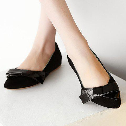 New Ladylike Bow and Suede Design Flat Shoes For Women - 36 BLACK Mobile