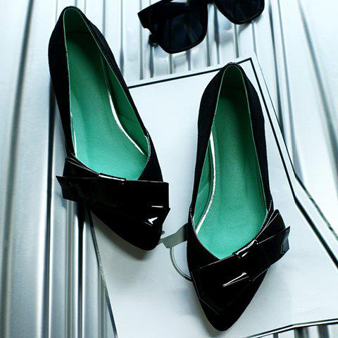 Fashion Ladylike Bow and Suede Design Flat Shoes For Women - 36 BLACK Mobile