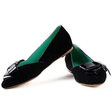 Latest Ladylike Bow and Suede Design Flat Shoes For Women - 39 BLACK Mobile