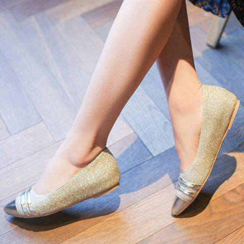 Best Stylish Splicing and Sequined Cloth Design Flat Shoes For Women - 39 GOLDEN Mobile