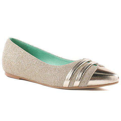Affordable Stylish Splicing and Sequined Cloth Design Flat Shoes For Women - 39 GOLDEN Mobile