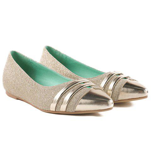 Cheap Stylish Splicing and Sequined Cloth Design Flat Shoes For Women - 39 GOLDEN Mobile