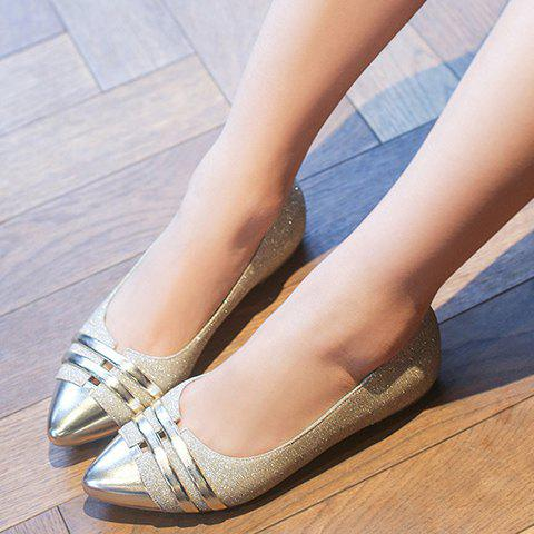 Unique Stylish Splicing and Sequined Cloth Design Flat Shoes For Women - 39 GOLDEN Mobile