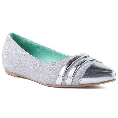 Latest Stylish Splicing and Sequined Cloth Design Flat Shoes For Women