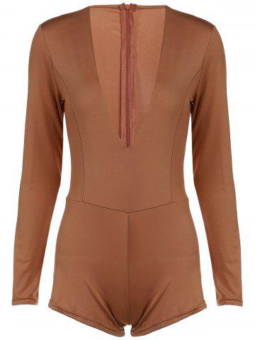 Plunging Neck Long Sleeve Solid Color Skinny Women s Romper