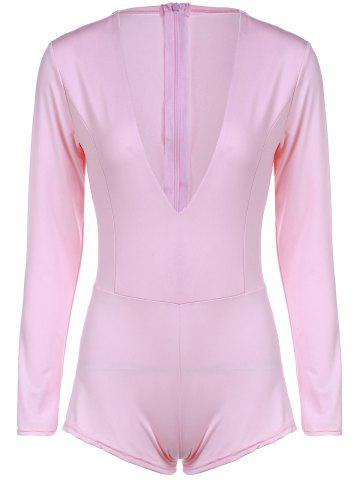 Fancy Chic Plunging Neck Long Sleeve Solid Color Skinny Women's Romper LIGHT PINK S