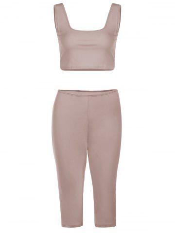 Shops Chic U-Neck Sleeveless Crop Top + Pure Color Skiny Pants Women's Twinset