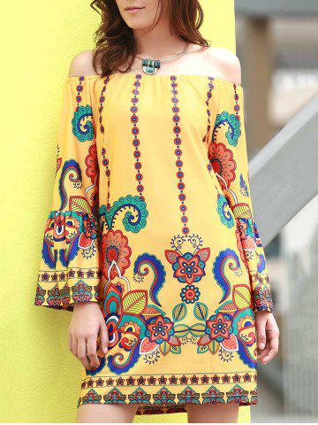 Shops Fashionable Off The Shoudler  Long Sleeve Print A-Line Dress For Women YELLOW 2XL