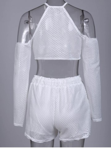 Fancy Sexy Round Collar Hollow Out Pocket Design Women's Activewear Suit - L WHITE Mobile