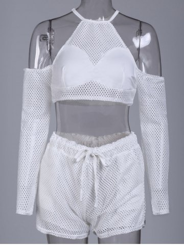 Latest Sexy Round Collar Hollow Out Pocket Design Women's Activewear Suit - M WHITE Mobile
