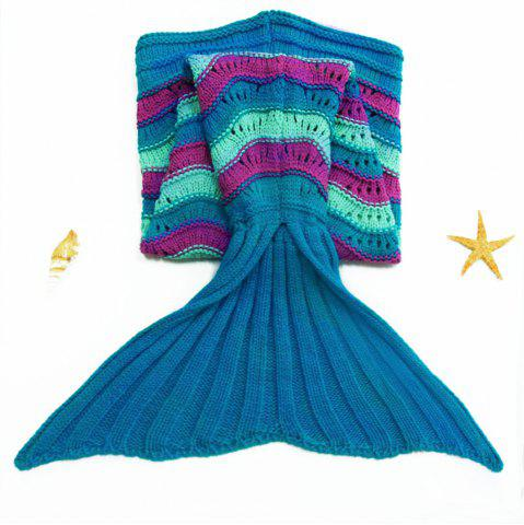 Store Stylish Sea Wave Pattern Mermaid Shape Kid's Knitted Blanket and Throws