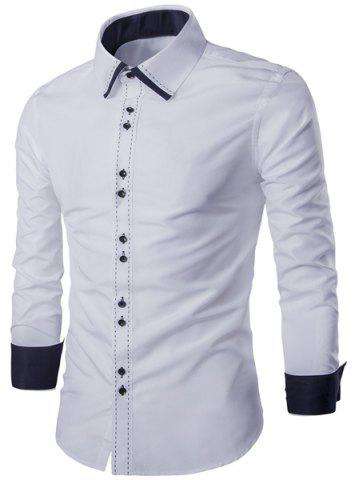Outfits Turn-Down Collar Color Block Splicing Suture Line Design Long Sleeve Men's Shirt WHITE M