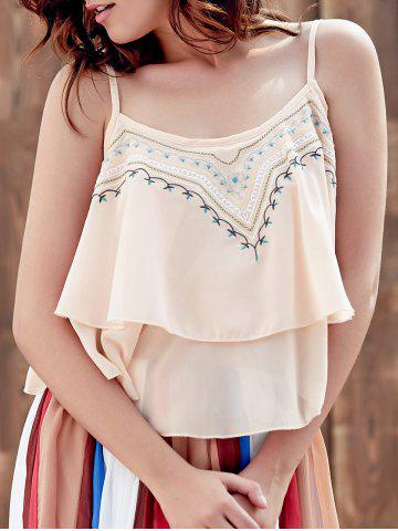 Fancy Embroidered Ruffle Cami Tank