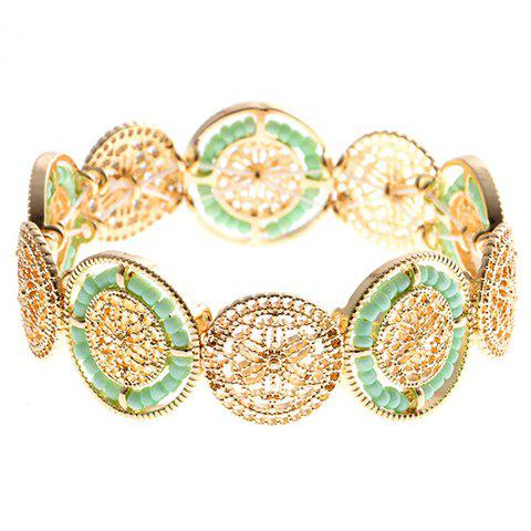 Fancy Ethnic Style Flower Hollow Out Beads Bracelet - GREEN  Mobile