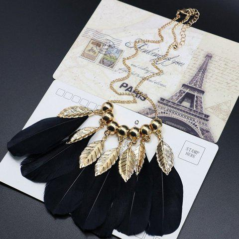 Vintage Feather Leaf Shape Necklace - BLACK