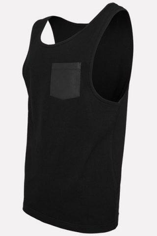 Shops Round Neck PU-Leather Pocket Applique Sleeveless Tank Top For Men