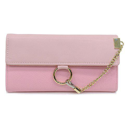 Shops Trendy Chain and Metal Ring Design Wallet For Women