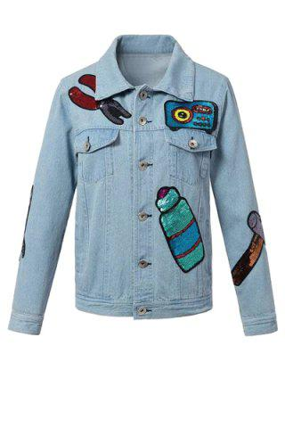 New Chic Light Blue Sequined Women's Denim Jacket