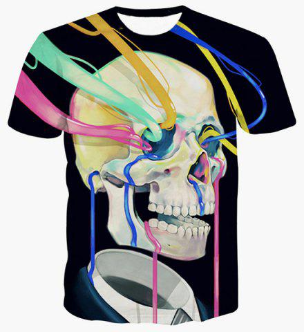 Store Fashion Pullover Color Strip Skull Printing T-Shirt For Men BLACK L
