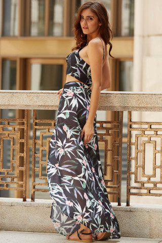 Tropical Floral Two Piece Swing Beach Dress - Black - S