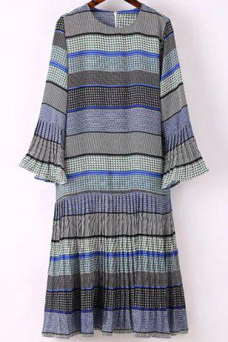 Cheap Trendy Round Collar Flare Sleeve Printed Dress For Women - M BLUE Mobile