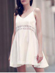 Crochet Trim Flared Summer Slip Dress - WHITE