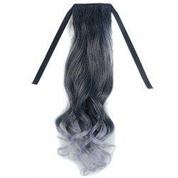 Stunning Black Ombre Grandma Ash Synthetic Fluffy Wavy Long Capless Ponytail For Women