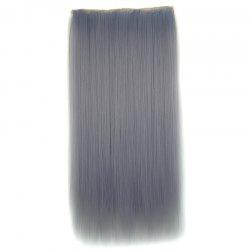 Attractive Long Silky Straight Light Grandma Ash Clip In Synthetic Hair Extension For Women