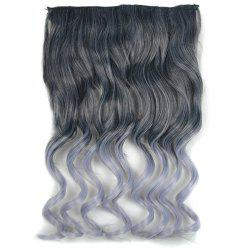 Fashion Long Black Ombre Grandma Ash Synthetic Fluffy Curly Hair Extension For Women -