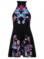 Trendy Sleeveless Floral Print Zipper Design Women's Dress -