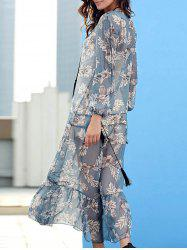 V-Neck Floral Print Drawstring Chiffon Maxi Dress