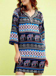 Chic V-Neck 3/4 Sleeve Beaded Elephant Print Women's Dress