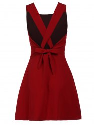 Fashionable Scoop Neck Sleeveless Criss-Cross Pure Color Women's Dress -