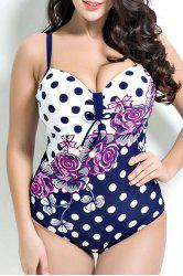 Floral Print Polka Dot Push Up One Piece Swimwear - PURPLISH BLUE