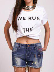 Casual Round Neck Letter Pattern Tee For Women - WHITE XL